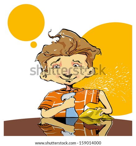 Child cleaning a glass table - stock vector