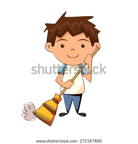 Child cleaning, sweeping, vector illustration  - stock vector