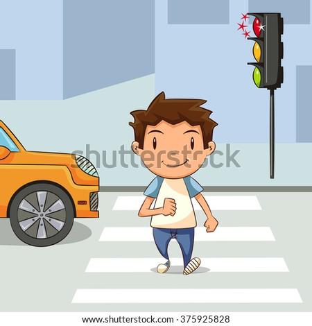 Child crossing street, vector illustration - stock vector