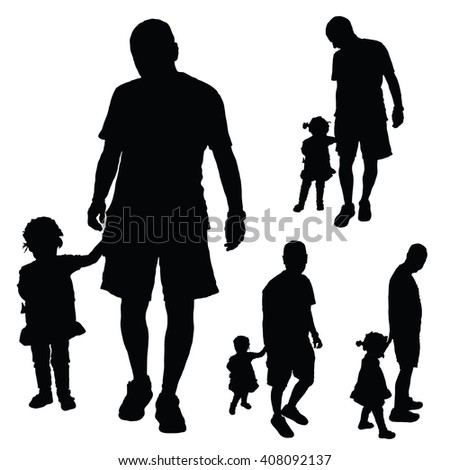 child cute with father illustration in black color
