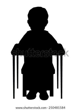 Child Desk School Sitting silhouette vector - stock vector