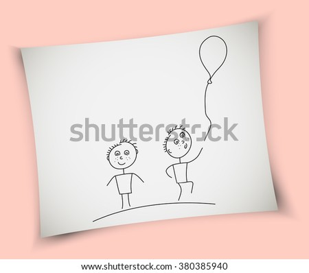Child drawing - boys and balloon