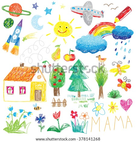 child drawing doodle set - stock vector