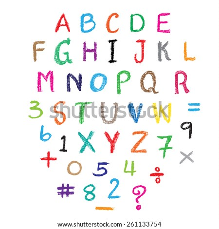 Child drawing of alphabet font made with wax crayons. Vector illustration. - stock vector
