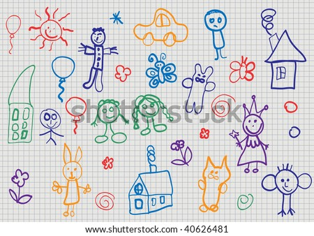 Child drawing. Vector illustration. - stock vector