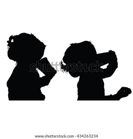 child drink set silhouette illustration - stock vector