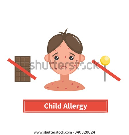 Child face covered by acne, allergy symptoms. Child allergy and child acne. Concept vector illustration isolated on white background. Flat cartoon style. - stock vector