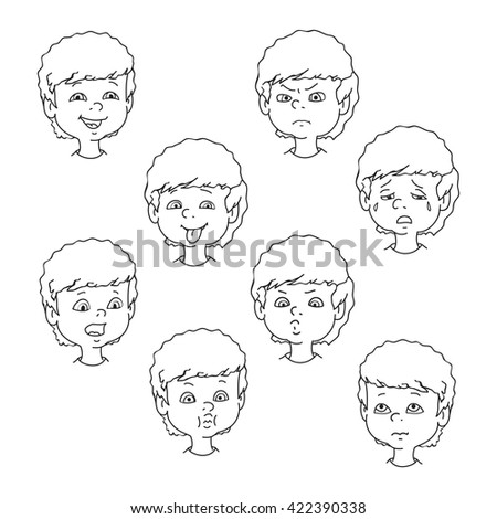 Child face emotion gestures, black and white vector illustration, set collection. Boy curly smiling, laughing, angry, crying, showing tongue, whistles, thoughtful