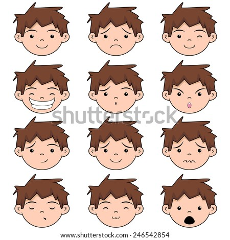 Child face expressions, vector illustration, set collection - stock vector