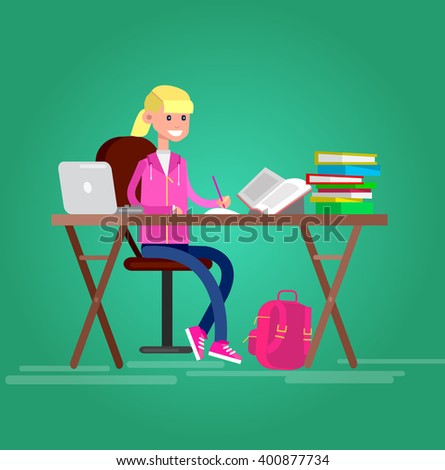 child girl studying in classroom with homework. Flat style vector illustration isolated on white background. - stock vector