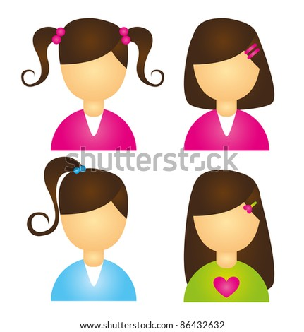 child girls icons isolated over white background. vector - stock vector