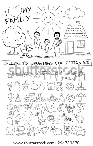 child hand drawing illustration of happy family with kids near home dog sun - Drawing Sketch For Kids