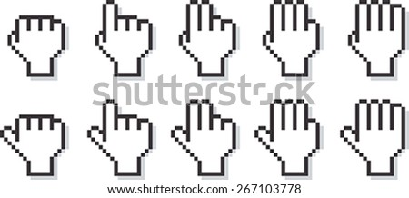 Child Hand Icon Pixelated. Set of kid hands pixel cursors in ten different positions. Easy to customize the color. See other pixelated cursors in my portfolio. - stock vector