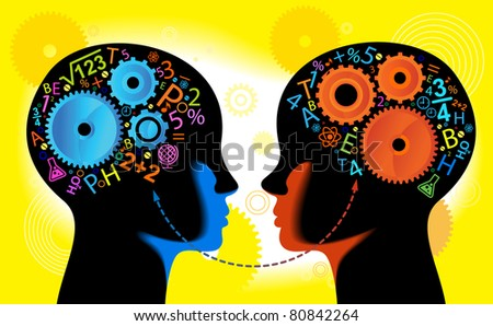 child Heads with gears.CHILDREN Learn to think, communicate - stock vector