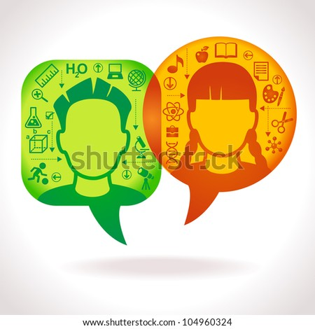 child heads with symbols. the concept of education and communications. File is saved in AI10 EPS version. This illustration contains a transparency. - stock vector
