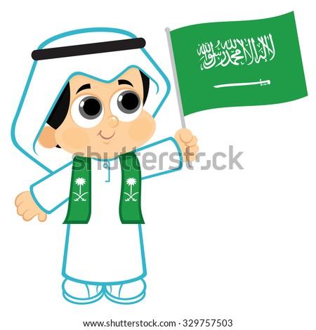 Stock Vector Child Holding Saudi Arabia Flag Uae Day Boy