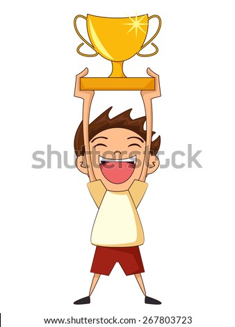 Child Holding Trophy Vector Illustration