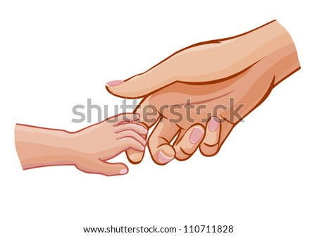 child holding woman's hand,vector illustration isolated on white - stock vector