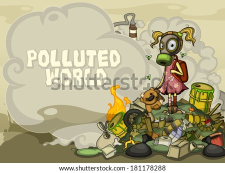 Child in a gas mask standing on a pile of garbage.  Side in a cloud of smoke space for text