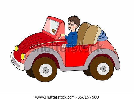 Child in a red car