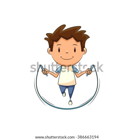 Child jumping rope, vector illustration - stock vector