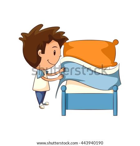 Girl Making Bed Vector Illustration Stock Vector 443949469