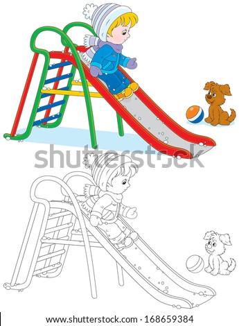 Child on a slide - stock vector