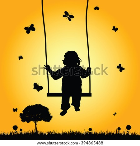 child on swing in nature silhouette illustration - stock vector