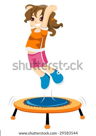 Child on Trampoline - Vector - stock vector