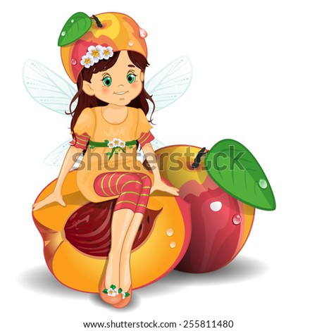 Child Peach-transparency blending effects and gradient mesh - stock vector