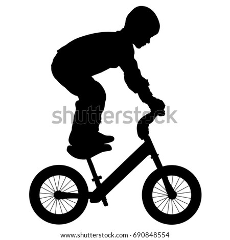 child performs a trick on a bike, silhouette vector