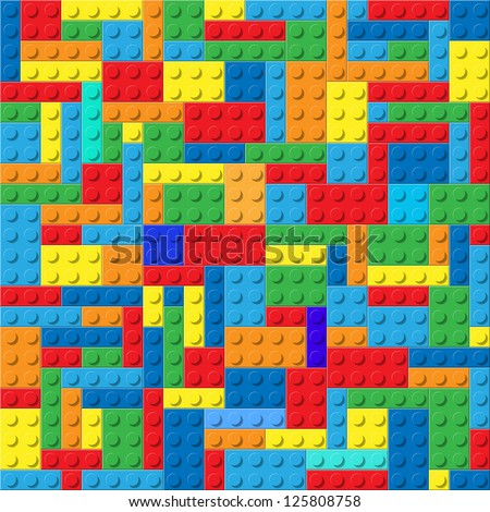 Child plastic constructor colorful vector background - stock vector