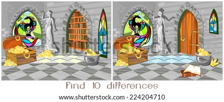 Child play with treasure house - stock vector