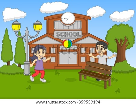 Child playing ball at the school cartoon vector illustration
