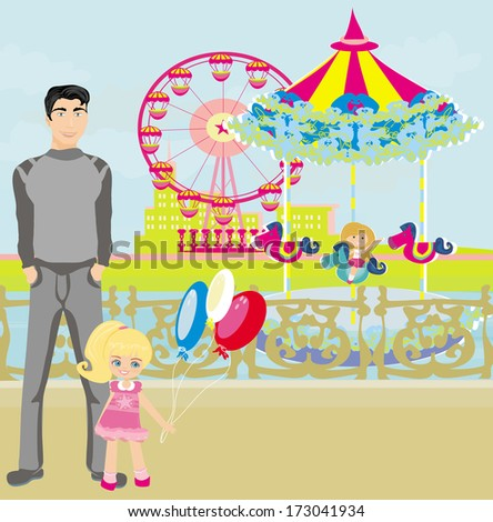 child playing on the carousel  - stock vector