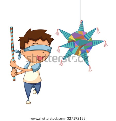 Child playing pinata, vector illustration - stock vector