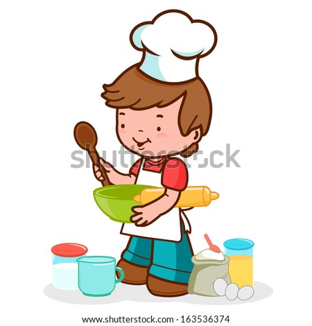 Child preparing to cook. A little boy wearing a chef uniform preparing to cook something delicious. - stock vector