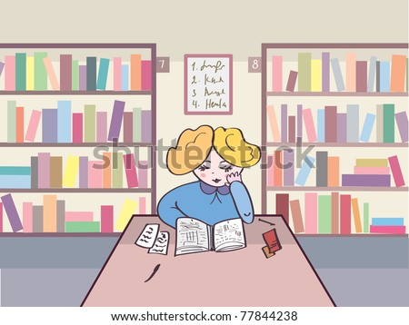Child reading in the library cartoon