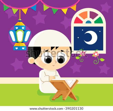 Child Reading Quran , Quran is the holy book of Islam , Decorating his room with Ramadan lantern - stock vector