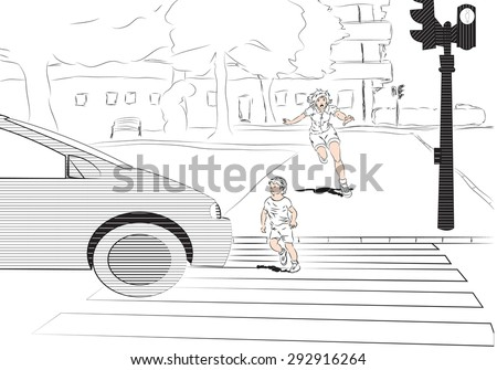 child running into traffic