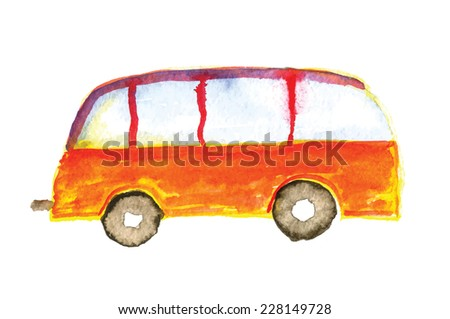 Child's drawing bus car. Watercolor vector illustration. - stock vector