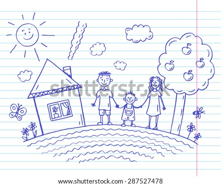 Child's drawing happy family holding hands and smiling. - stock vector