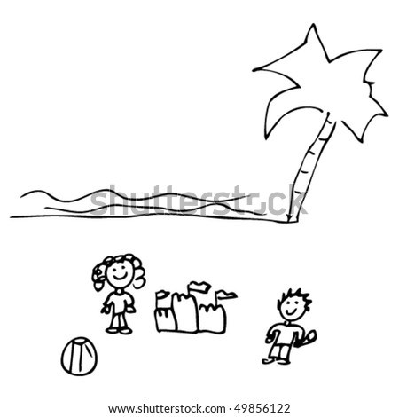 child's drawing of a beach