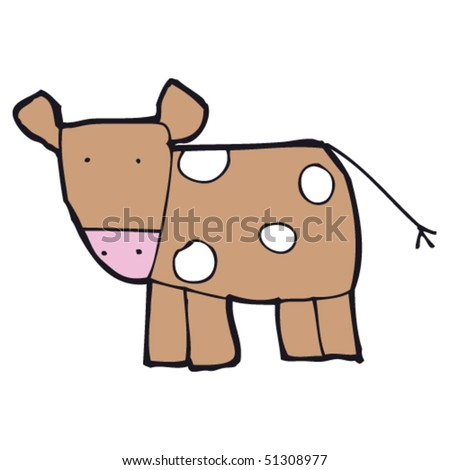 child's drawing of a cow - stock vector