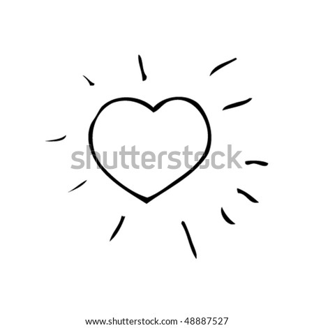 child's drawing of a heart - stock vector