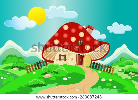 Child's drawing of a mushroom house with a fence, chimney, window, roof and door landscape with shrubs, flowers, clouds and sun, with deep, bright colors, suitable for Wallpaper Mural or picture book.