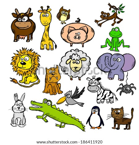 child's drawing of a set of animals. Vector