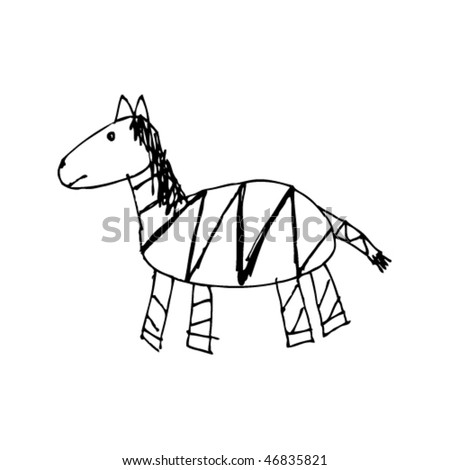 child's drawing of a zebra
