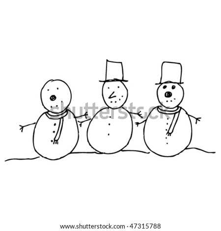child's drawing of Christmas Snowmen - stock vector