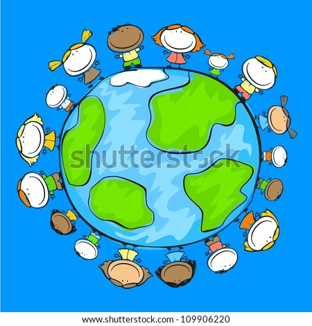 Child's drawing of happy people on the Earth - stock vector